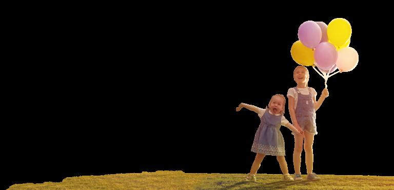 姉妹と風船